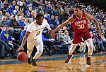 BROOKINGS, SD - JANUARY 13: Tevin King #2 from South Dakota State University drives past Donoven Carlisle #30 from Denver during their game Saturday afternoon at Frost Arena in Brookings, SD.  (Photo by Dave Eggen/Inertia)