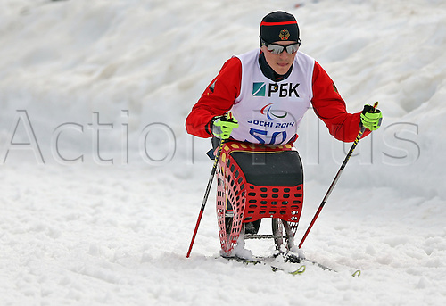 07.03.2014. Sochi, Russia.  Martin Fleig of Germany is seen during a free training session of Nordic Skiing - Sitting at Laura Cross-country Ski & Biathlon Center at the Sochi 2014 Paralympic Winter Games, Krasnaya Polyana, Russia, 07 March 2014.