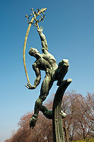 """The """"Rocket Thrower"""" by Donald De Lue, originally commissioned for the 1964 Worlds Fair, in Flushing Meadows Park in Queens in New York seen on Sunday, March 18, 2012.  (© Richard B. Levine)"""