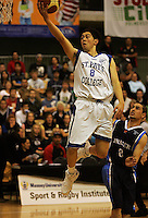 Brook Ruscoe-Taiaroa lays up during the NZ Secondary Schools Basketball Championships match between Fraser High School and St Patricks College at Arena Manawatu, Palmerston North, New Zealand on Saturday 4 October 2008. Photo: Dave Lintott / lintottphoto.co.nz