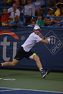 Washington, DC - August 5, 2015: Number 1 seed Andy Murray prepares to take a backhand shot in a match against Teymuraz Gabashvii of Russia during the Citi Open tennis tournament at the FitzGerald Tennis Center in the District of Columbia August 5, 2015.  (Photo by Don Baxter/Media Images International)