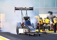 Mar 15, 2015; Gainesville, FL, USA; NHRA top fuel driver Spencer Massey during the Gatornationals at Auto Plus Raceway at Gainesville. Mandatory Credit: Mark J. Rebilas-