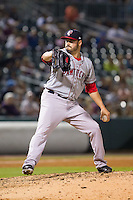 Pawtucket Red Sox relief pitcher Chris Hernandez (35) in action against the Charlotte Knights at BB&T Ballpark on August 9, 2014 in Charlotte, North Carolina.  The Red Sox defeated the Knights  5-2.  (Brian Westerholt/Four Seam Images)