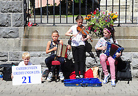 Buskers Dylan, Riona and Charlotte Hulme with Maria O'Sullivan from Caherdaniel, County Kerry pictured taking part in the Celtic Music Festival busking competition in Cahersiveen, County Kerry at the weekend.<br /> Picture by Don MacMonagle