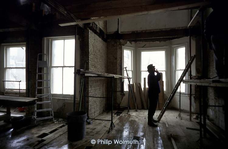Refurbishment work on a Victorian property belonging to Walterton and Elgin Community Homes, a resident controlled housing association in North Paddington, London.