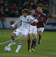 Salt Lake midfielder Kyle Beckerman fends off Colorado's Colin Clark (red). Real Salt Lake earned a tied versus the Colorado Rapids securing a place in the postseason. Dick's Sporting Goods Park, Denver, Colorado, October, 25, 2008. Photo by Trent Davol/isiphotos.com