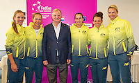 April 17, 2015, Netherlands, Den Bosch, Maaspoort, Fedcup Netherlands-Australia, Draw,  Australian team with vice president<br /> Photo: Tennisimages/Henk Koster