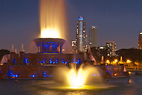 Buckingham Fountain at Glows and Fkows at Night in Grant Park on Chicago's Lakefront, Chicago, Illinois