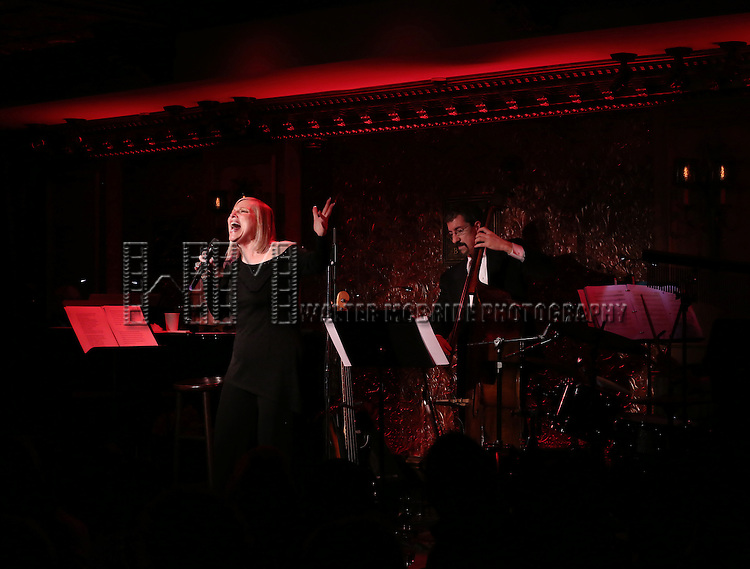 """Roslyn Kind with Jered Egan on Bass performing her new show """"It's Been a While""""  at 54 Below on April 6, 2014 in New York City."""