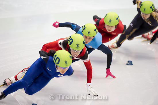 Trent Nelson  |  The Salt Lake Tribune.Ladies' 1500m, semifinal 1, Short Track Speed Skating, at the XXI Olympic Winter Games in Vancouver, Saturday, February 20, 2010. Lee Eun-Byul (140, korea), Tania Vicent (109, canada), Sun Linlin (111, china), Hiroko Sadakane (134, japan), Allison Baver (153, USA), Nina Evteeva (151), Marina Georgieva-Nikolova (103)