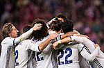 Cristiano Ronaldo of Real Madrid celebrates with teammates after scoring Real's 3rd goal during their La Liga match between Atletico de Madrid and Real Madrid at the Vicente Calderón Stadium on 19 November 2016 in Madrid, Spain. Photo by Diego Gonzalez Souto / Power Sport Images