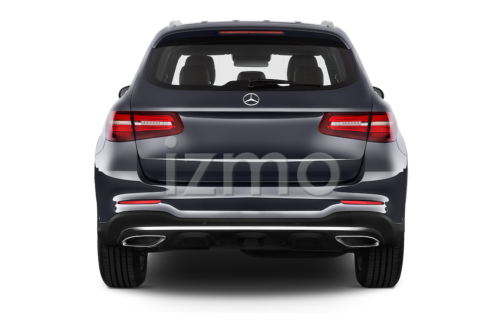Straight rear view of 2016 Mercedes Benz GLC Launch Edition 5 Door Suv Rear View  stock images