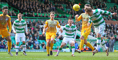 06.03.2016. Celtic Park, Glasgow, Scotland. Scottish Cup. Celtic versus Morton. Kris Commons bullets a header towards goal