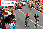 Race leader Chris Froome (GBR) Team Sky and team mate and Wout Poels (NED) cross the line after 2 crashes on the descent off Puerto del Torcal during Stage 12 of the 2017 La Vuelta, running 160.1km from Motril to Antequera Los D&oacute;lmenes, Spain. 31st August 2017.<br /> Picture: Unipublic/&copy;photogomezsport | Cyclefile<br /> <br /> <br /> All photos usage must carry mandatory copyright credit (&copy; Cyclefile | Unipublic/&copy;photogomezsport)