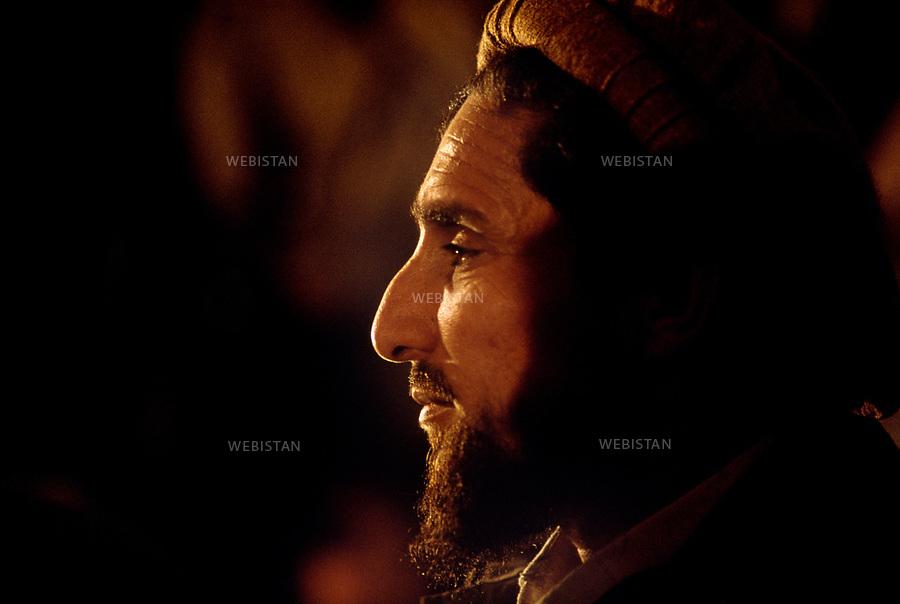Afghanistan. Kabul. 1992. Portrait of Commander Massoud (1953-2001) during his first press conference after the taking of Kabul by the Mujahideen on April 18, 1992.<br /> <br /> Afghanistan. Kaboul. 1992. Portrait du commandant Massoud (1953-2001) lors de sa premi&egrave;re conf&eacute;rence de presse apr&egrave;s la prise de Kaboul par les Moudjahidin le 18 avril 1992.