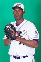 Winston-Salem Dash pitcher Braulio Ortiz (35) poses for photos during Media Day at BB&T Ballpark on April 1, 2014 in Winston-Salem, North Carolina (Brian Westerholt/Four Seam Images)