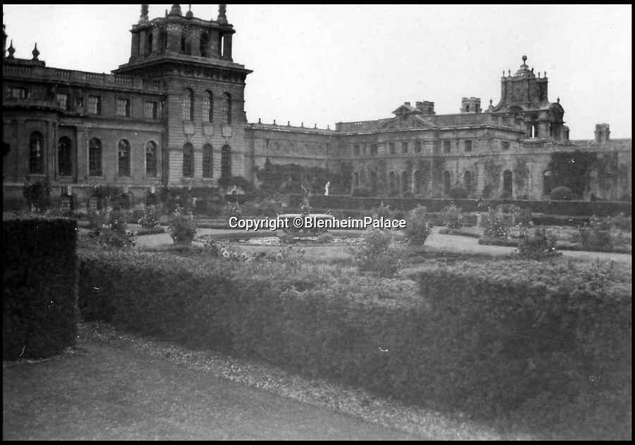 BNPS.co.uk (01202 558833)<br /> Pic: BlenheimPalace/BNPS<br /> <br /> The Italian garden at Blenheim before the first war.<br /> <br /> All that Glisters....Is Gold! <br /> <br /> This spectacular restoration of the Mermaid Fountain at Blenheim Palace uses 8750 leaves of real gold to bring back its stunning golden hue.<br /> <br /> The ornate gilded bronze fountain has been returned to its original glory more than a century after its original installation.<br /> <br /> The Mermaid Fountain is the centrepiece of the formal Italian Garden at Blenheim Palace.<br /> <br /> Sculpted by renowned British/American artist Thomas Waldo Story it was installed at the Oxfordshire World Heritage Site by the 9th Duke of Marlborough in 1912.<br /> <br /> However over the decades the fountain became covered with a thick layer of limescale and algae and restorers used 350 books of almost pure 23 ¾ carat triple layer Old English gold to bring it back to life.<br /> <br /> The work is part of a £40 million rolling programme of conservation being carried out at the UNESCO World Heritage Site which was the birthplace of Winston Churchill.