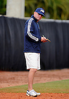 Florida International University Head Coach Jake Schumann during the game against the University of Louisville which won the game 4-2 on February 11, 2012 at Miami, Florida. .