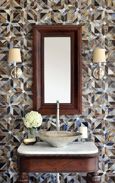 Rubrik, a handmade mosaic shown in Pearl, Schist, and Lavastone jewel glass, is part of the Parquet Line by Sara Baldwin for New Ravenna.<br /> <br /> For pricing samples and design help, click here: http://www.newravenna.com/showrooms/