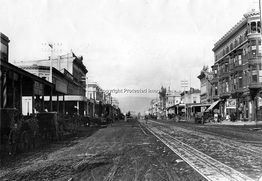 Oakland, California 1884 view looking north up <br />