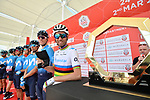 World Champion Alejandro Valverde (ESP) and Movistar Team presented at sign on before the start of Stage 3 of the 2019 UAE Tour, running 179km form Al Ain to Jebel Hafeet, Abu Dhabi, United Arab Emirates. 26th February 2019.<br /> Picture: LaPresse/Massimo Paolone | Cyclefile<br /> <br /> <br /> All photos usage must carry mandatory copyright credit (© Cyclefile | LaPresse/Massimo Paolone)