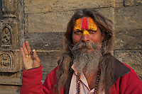 Sadhu at Shambhu Nath Hindu traditional Cremation Area, Kathmandu, Nepal