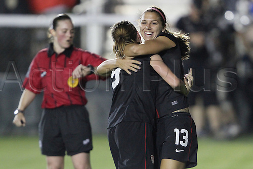 18.05.2011 United States' Heather O'Reilly (9) is congratulated by teammate Alex Morgan (13) after scoring a goal. The United States Women's National Team defeated the Japan Women's National Team 2-0 at WakeMed Stadium in Cary, North Carolina as part of preparations for the 2011 Women's World Cup.