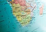 Southern Africa map on a globe focused on Botswana, Namibia, Zimbabwe and South Africa