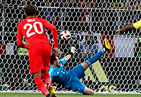 MOSCU - RUSIA, 03-07-2018: David Ospina arquero de Colombia no puede evitar el gol de penal de  Harry KANE (fuera del cuadro) durante partido de octavos de final entre Colombia y Inglaterra por la Copa Mundial de la FIFA Rusia 2018 jugado en el estadio del Spartak en Moscú, Rusia. / David Ospina, goalkeeper of Colombia, can't avoid a penal goal of Harry KANE (out the frame) during the match between Colombia and England of the round of 16 for the FIFA World Cup Russia 2018 played at Spartak stadium in Moscow, Russia. Photo: VizzorImage / Julian Medina / Cont