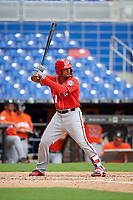 Washington Nationals Anderson Franco (11) at bat during a Florida Instructional League game against the Miami Marlins on September 26, 2018 at the Marlins Park in Miami, Florida.  (Mike Janes/Four Seam Images)
