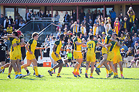 Australia players celebrate at the final whistle of the rugby union match between New Zealand Schools and Australia Under-18s at St Paul's Collegiate in Hamilton, New Zealand on Friday, 4 October 2019. Photo: Dave Lintott / lintottphoto.co.nz