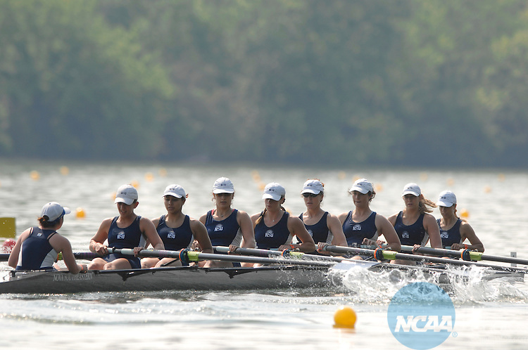 26 MAY 2007: Nova Southeastern races toward the finish line of the Division II Eights Repechage race during the Division II Women's Rowing Championship held at the ORRA-Melton Hill Lake in Oak Ridge, TN. Nova Southeastern finished the race with a time of 7:06.01. Stephen Nowland/NCAA Photos