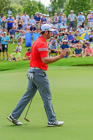 Jon Rahm (ESP) after sinking ihs putt on 15 during Sunday's final round of the PGA Championship at the Quail Hollow Club in Charlotte, North Carolina. 8/13/2017.<br /> Picture: Golffile | Ken Murray<br /> <br /> <br /> All photo usage must carry mandatory copyright credit (&copy; Golffile | Ken Murray)