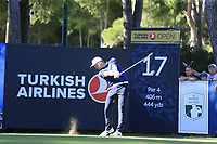 Tom Lewis (ENG) tees off the 17th tee during Friday's Round 2 of the 2018 Turkish Airlines Open hosted by Regnum Carya Golf &amp; Spa Resort, Antalya, Turkey. 2nd November 2018.<br /> Picture: Eoin Clarke | Golffile<br /> <br /> <br /> All photos usage must carry mandatory copyright credit (&copy; Golffile | Eoin Clarke)