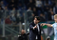 Calcio, Serie A: Roma, stadio Olimpico, 1marzo 2017.<br /> Lazio's coach Simone Inzaghi gestures during the Italian TIM Cup 1st leg semifinal football match between Lazio and AS Roma at Rome's Olympic stadium, on March 1, 2017.<br /> UPDATE IMAGES PRESS/Isabella Bonotto