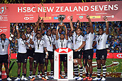 January 27th, Hamilton, New Zealand;  Members of the Fiji Team celebrate their win over USA in the finals during the Day 2 of the HSBC World Rugby Sevens Series 2019, FMG Stadium Waikato,Hamilton, Sunday 27th January 2019.