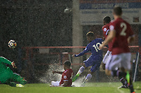 Callum HUDSON-ODOI of Chelsea scores in the pouring rain to make it 2 2 during the U23 Premier League 2 match between Chelsea and Manchester United at the EBB Stadium, Aldershot, England on 18 September 2017. Photo by Andy Rowland.