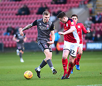 Lincoln City's Harry Anderson vies for possession with  Crewe Alexandra's Eddie Nolan<br /> <br /> Photographer Andrew Vaughan/CameraSport<br /> <br /> The EFL Sky Bet League Two - Crewe Alexandra v Lincoln City - Wednesday 26th December 2018 - Alexandra Stadium - Crewe<br /> <br /> World Copyright &copy; 2018 CameraSport. All rights reserved. 43 Linden Ave. Countesthorpe. Leicester. England. LE8 5PG - Tel: +44 (0) 116 277 4147 - admin@camerasport.com - www.camerasport.com