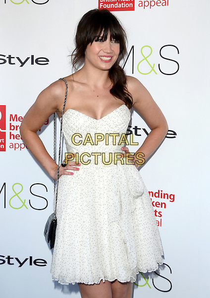 Daisy Lowe.Tunnel of Love Fundraiser in aid of The British Heart Foundation at Proud Camden, London, England..May 29th 2012.half length dress white strapless hands on hips.CAP/ROS.©Steve Ross/Capital Pictures
