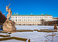 Oesterreich, Salzburger Land, Salzburg: Schloss Mirabell und Mirabellgarten, rechts die Orangerie | Austria, Salzburger Land, Salzburg: Palace Mirabell and Mirabell Garden, Orangery at right hand sight