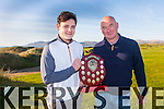 Junior Golfer Pádraig Maher from Renard, Cahersiveen won the Finbarr MacAuliffe Memorial Trophy on the 21st December wit a score of 31pts, pictured here with Finbarr's son Aidan making the presentation.