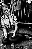 Warsaw 04/2010 Poland<br /> People mourning the tragic death of President Lech Kaczynski and his wife in front of the presidential residence.<br /> on picture: scout-girl fires candles<br /> Photo: Adam Lach / Napo Images for The New York Times<br /> <br /> Zaloba po tragicznej smierci Prezydenta Lecha Kaczynskiego i jego malzonki,ul. Krakowskie Przedmiescie przed Palacem Prezydenckim.<br /> na zdjeciu: harcerka<br /> Fot: Adam Lach / Napo Images dla The New York Times