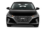 Car photography straight front view of a 2020 Hyundai Ioniq-Plug-In-Hybrid Shine 5 Door Hatchback Front View