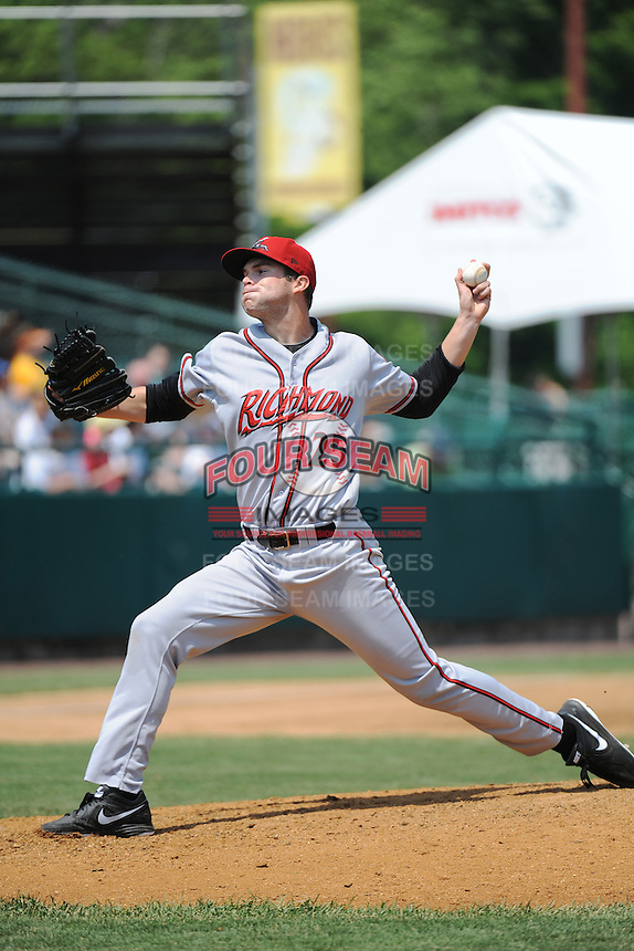 Richmond Flying Squirrels pitcher  Jack Snodgrass (25) during game against the New Britain Rock Cats at New Britain Stadium on May 30, 2013 in New Britain, CT.  New Britain defeated Richmond 2-1.  (Tomasso DeRosa/Four Seam Images)