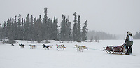 Saturday February 25, 2006 Willow, Alaska.   Ricelle Horner and team on Willow lake at the start day of the Junior Iditarod sled dog race.  Willow Lake.