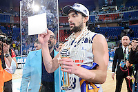 Real Madrid's Sergio Llull celebrating the championship  during Quarter Finals match of 2017 King's Cup at Fernando Buesa Arena in Vitoria, Spain. February 19, 2017. (ALTERPHOTOS/BorjaB.Hojas)