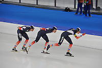 SCHAATSEN: BERLIJN: Sportforum, 07-12-2013, Essent ISU World Cup, Team Pursuit, Benjamin Macé, Ewen Fernandez, Alexis Contin (FRA), ©foto Martin de Jong