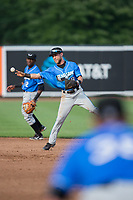 Hudson Valley Renegades shortstop Deion Tansel (9) makes a throw to first base against the Aberdeen IronBirds at Leidos Field at Ripken Stadium on July 27, 2017 in Aberdeen, Maryland.  The Renegades defeated the IronBirds 2-0 in game one of a double-header.  (Brian Westerholt/Four Seam Images)