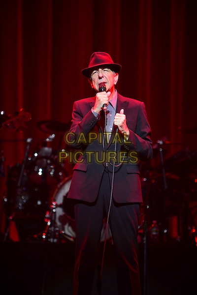 Miami, FL - MARCH 20: Leonard Cohen performs in support his Old Ideas release at James L. Knight Center on March 20, 2013 in Miami, Florida. <br /> CAP/MPI<br /> &copy;MPI/Capital Pictures