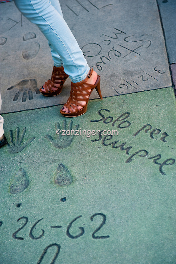 Grauman's, Chinese, Theatre,  Womans Shoes, Movie Stars, Hand - Footprint, Impressions, Hollywood,  CA ,Vertical image